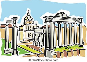 romano, roma, (ancient, forum)