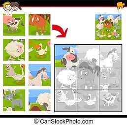 rompecabezas con animales de granja de dibujos animados