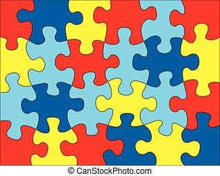 rompecabezas, ilustración, pedazos, colores, plano de fondo, autism, conocimiento
