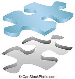 rompecabezas, rompecabezas, cabe, agujero, pedazo, blanco