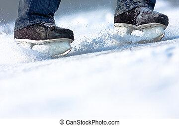 Rompiendo patines de hielo, mucho espacio para copiar