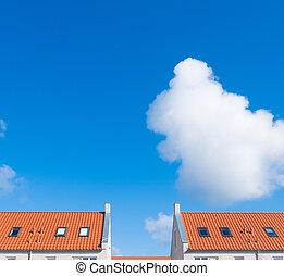 Rooftop con azulejos naranjas
