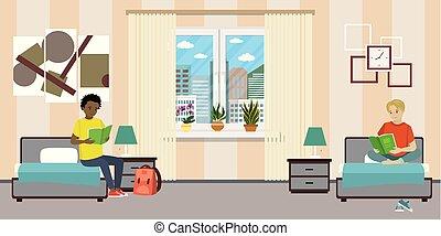 room., adolescente macho, estudiantes, caricatura, dormitorio