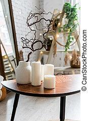 room., de madera, boho, elegante, vela, sofa., habitación, cómodo, interior., interior, casa frente, pequeño, escandinavo, planta, velas, diseñado, tabla, florero, vida, café, decor., blanco