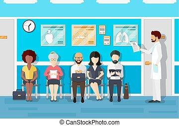 room., vector, pacientes, esperar, ilustración, doctors