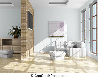 room., vida, interior, image., 3d