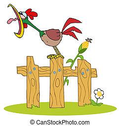 Rooster cantando en una cerca de madera