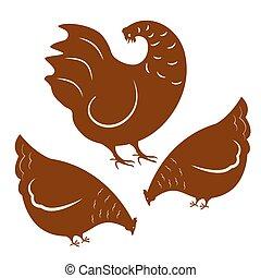 Rooster y dos gallinas