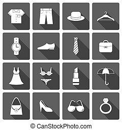 Ropa accesorios de iconos de zapatos