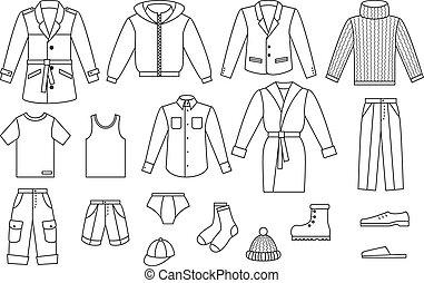 ropa, contorno, colección, mens