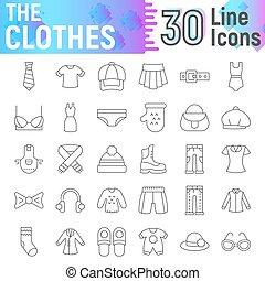 Ropa de icono de delgada línea, símbolos de tela colección, bocetos vectores, ilustraciones de logo, carteles de ropa fototogramas lineales aislados en el fondo blanco.