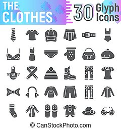 Ropa de icono glifo, simbolos de tela, bocetos vector, ilustraciones de logo, señales de apariciones sólidas paquete de pictogramas aislado en el fondo blanco.
