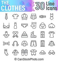Ropa de icono, símbolos de tela, dibujos vectores, ilustraciones de logo, carteles de ropa pictogramas lineales aislados en el fondo blanco.