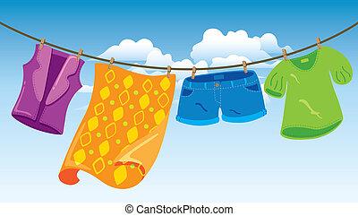 Ropa en la línea de lavado