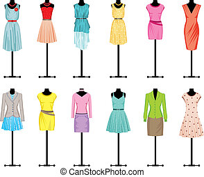 ropa, maniquíes, mujeres