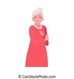 ropa, mujer anciana, feliz, llevando