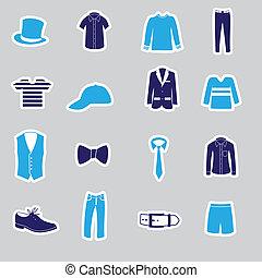 ropa, pegatinas, eps10, mens