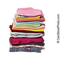 ropa, pila, camisas