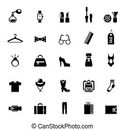 ropa, surtido, accesorio, negro, iconos