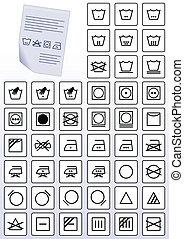 ropa, symbols., instrucción, cuidado