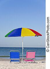 rosa, azul, paraguas, colorido, deckchairs, playa