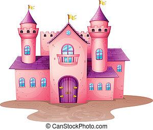 rosa, castillo, coloreado