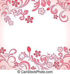 rosa, cereza, marco, seamless, flor