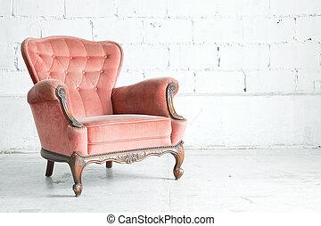 rosa, clásico, sillón