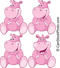 rosa, conjunto, -, dientes, hipopótamo, primero
