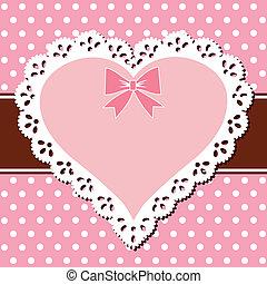 rosa, corazón, encaje