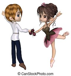 rosa, de, ballet, lindo, deux, rosa, toon, pas
