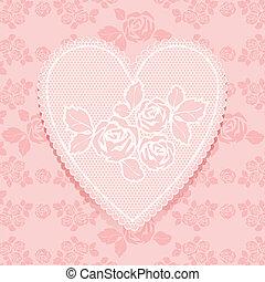 Rosa de encaje en forma de corazón