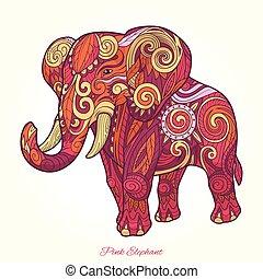 rosa, elefante, ornamento, ilustración, vector, étnico