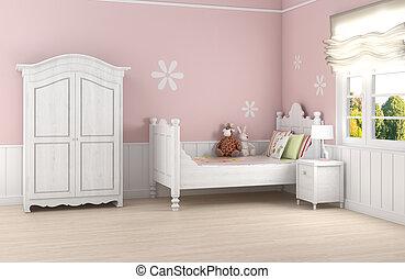 rosa, ella/los/las de niña, dormitorio