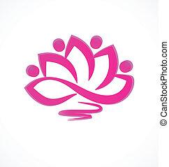 rosa, flor de loto, vector, icono