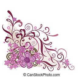 rosa, floral, esquina, elemento del diseño
