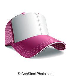 rosa, gorra, beisball
