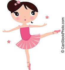 rosa, lindo, bailarina, aislado, niña, blanco