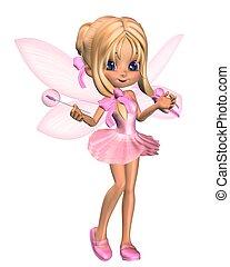 rosa, lindo, bailarina, toon, 3, hada