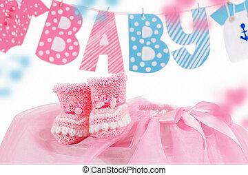 rosa, lindo, bootees, palabra, elemento, bebé