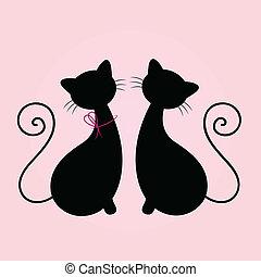 rosa, lindo, silueta, sentado, pareja, aislado, gatos, juntos