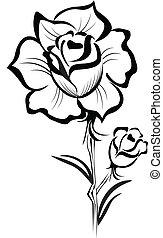Rosa negra, logotipo estilizado