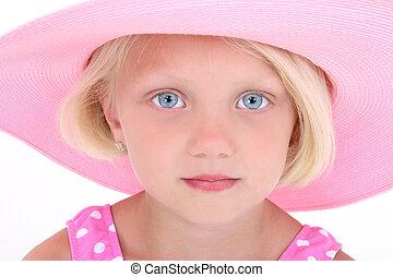 rosa, niña, sombrero, niño