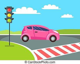 rosa, peatón, coche, cruz, mini, cruce, yendo