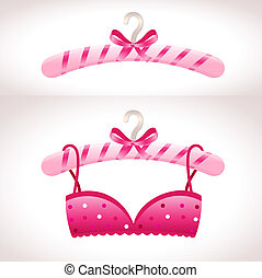 rosa, percha, sostén, hanger.