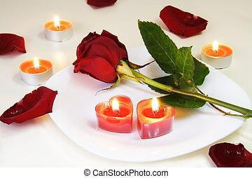 rosa, tabla, romántico, atrayente, velas