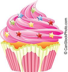 rosa, vector, asperja, cupcake