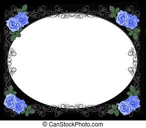 Rosas azules bordean el negro