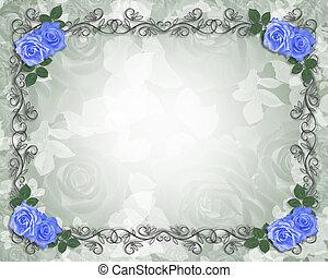 Rosas azules de boda bordean