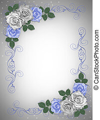 Rosas azules de la frontera de la boda blanca